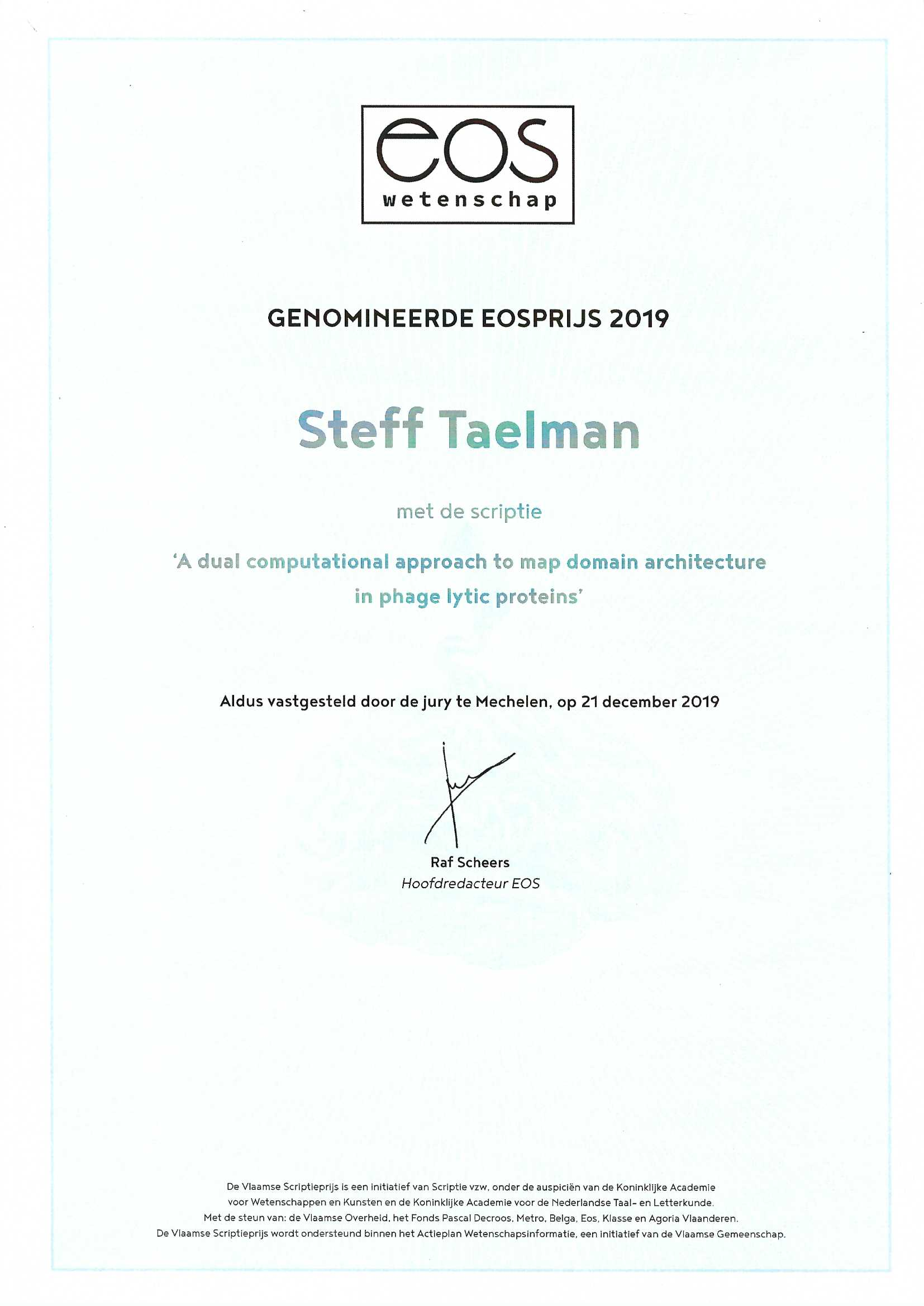 EOS prize Steff Certificate