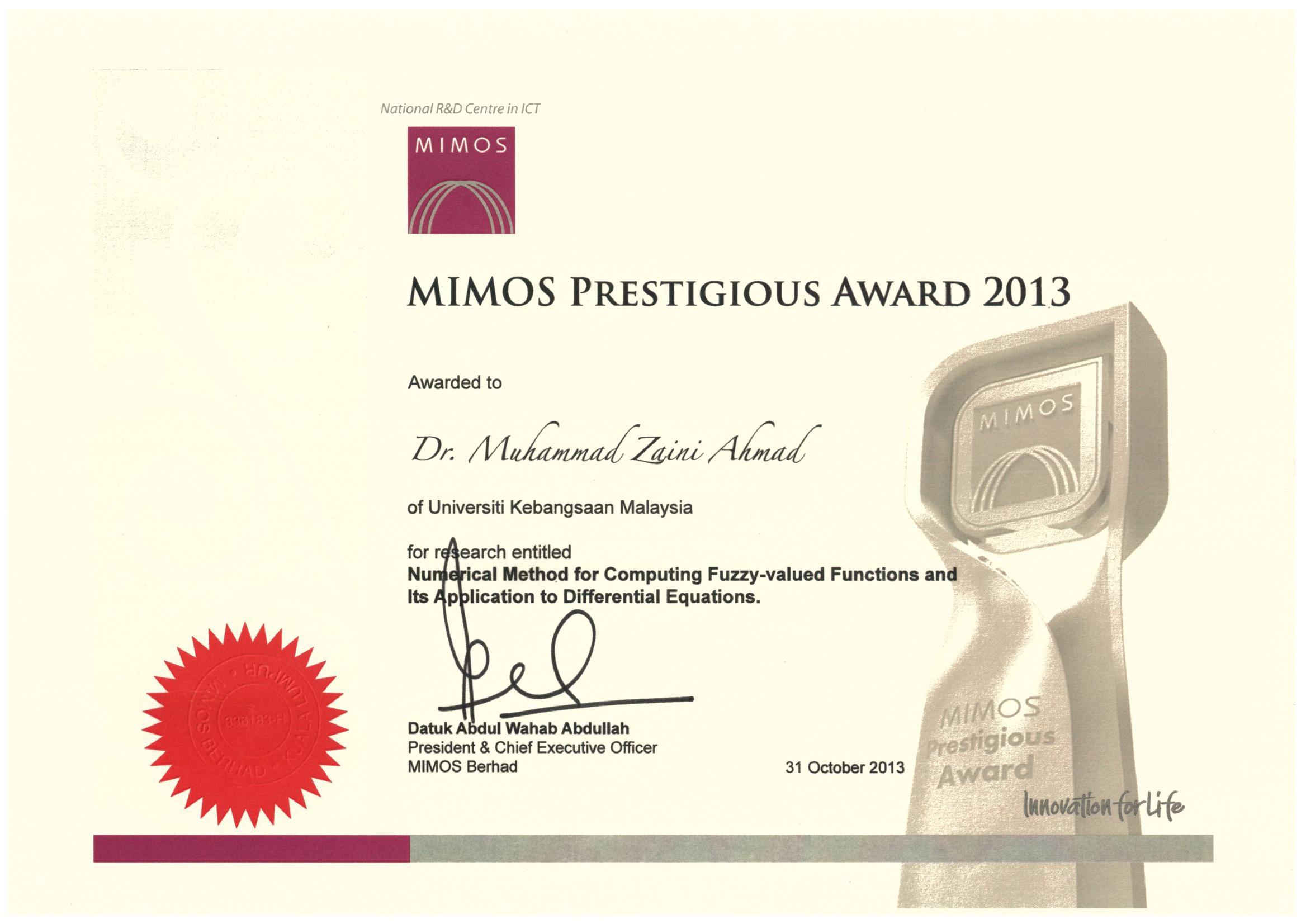 MIMOS Award